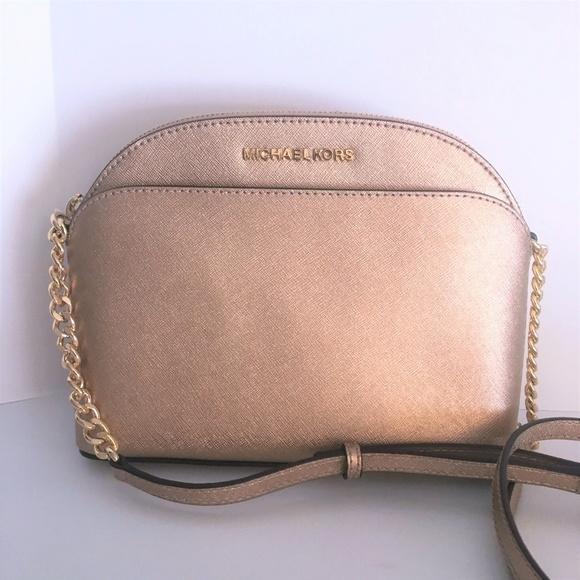 7a5d065a5515 Michael Kors Emmy Crossbody - Rose Gold Leather